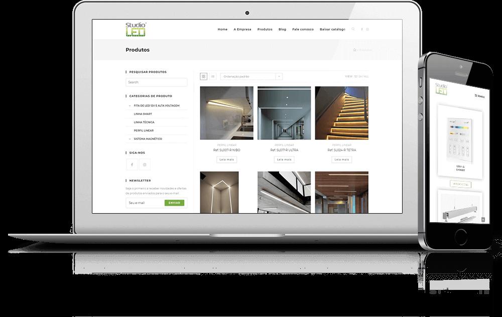 Site da Studio LED - criado pela Agência Xadrez
