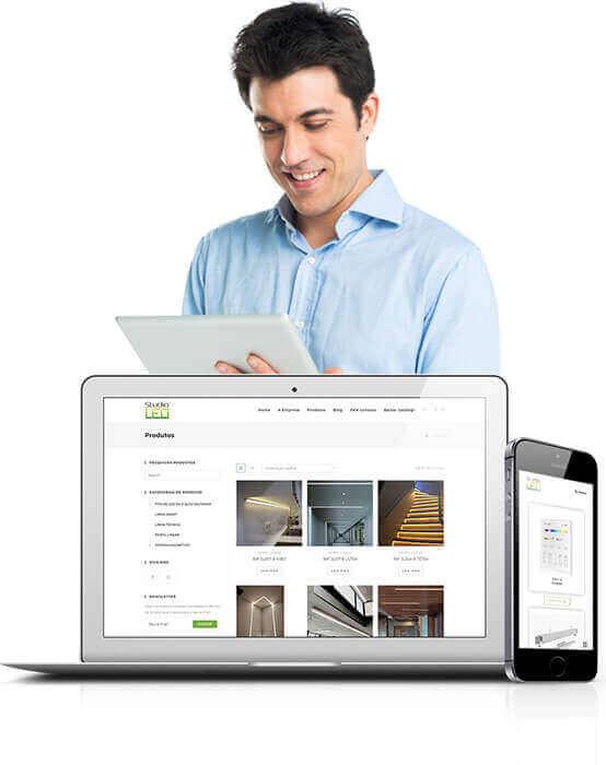 Criação de site para vitrine online e catálogo virtual.
