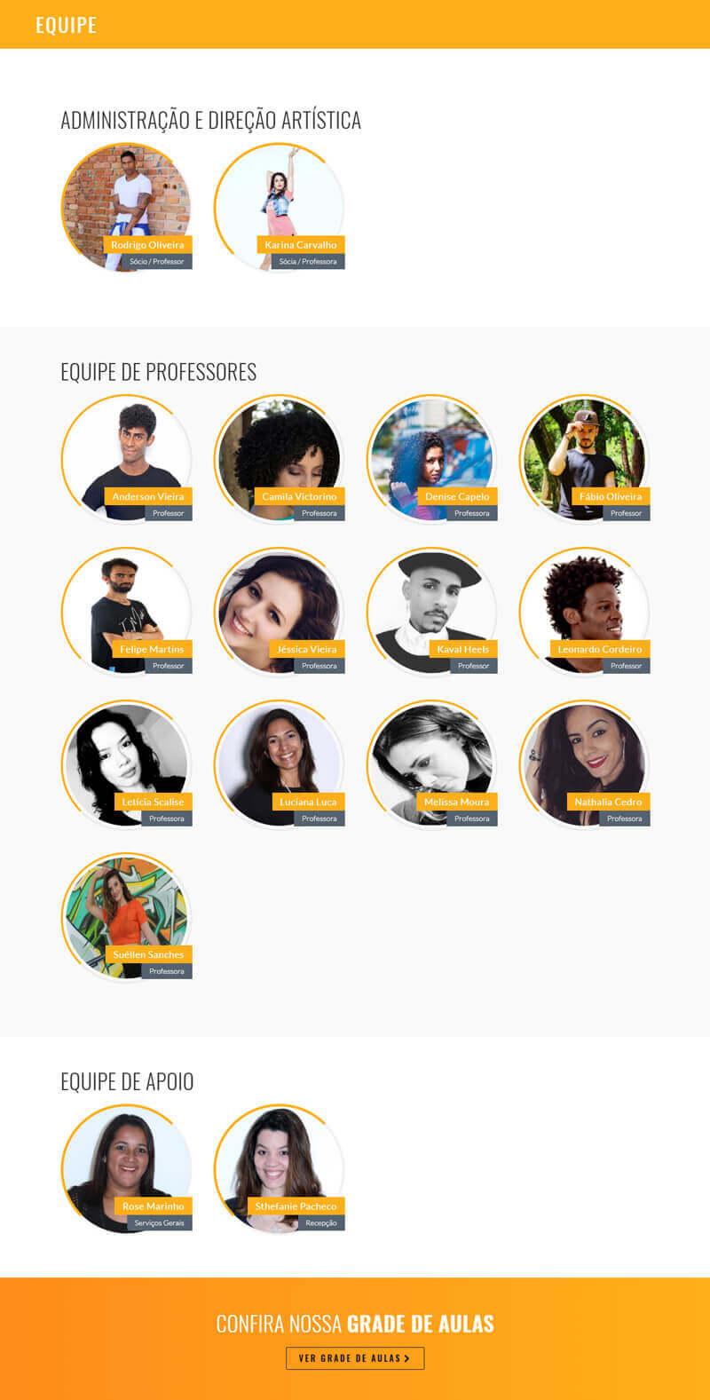 Página do site Clube Latino com a equipe
