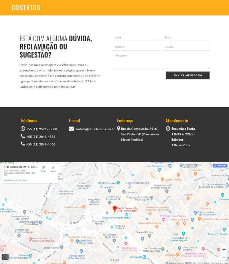 Site responsivo Clube latino