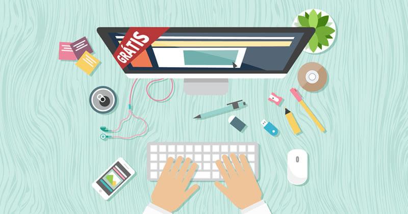 Área de trabalho com celular exibindo um site e um computador exibindo como fazer um site