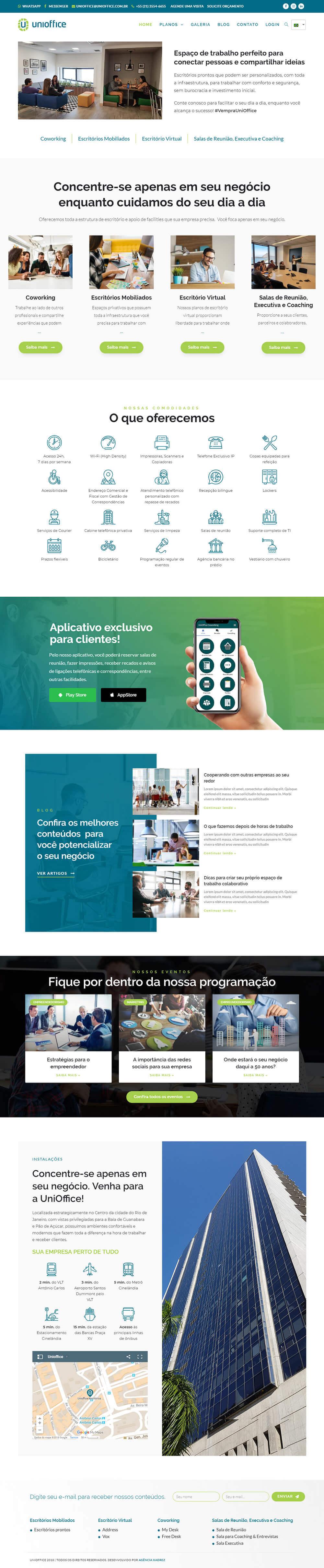 Criação de site gerenciável para coworking UniOffice