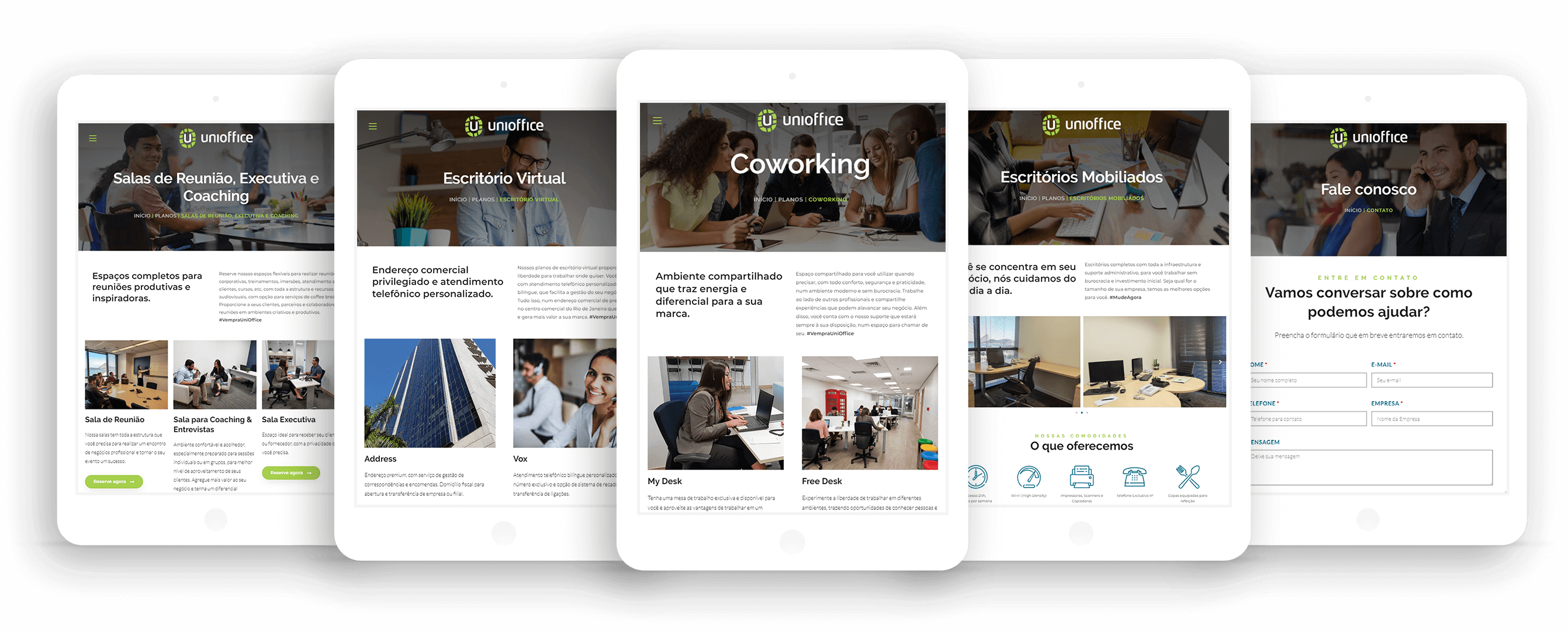 Criação de site gerenciável responsivo para coworking UniOffice