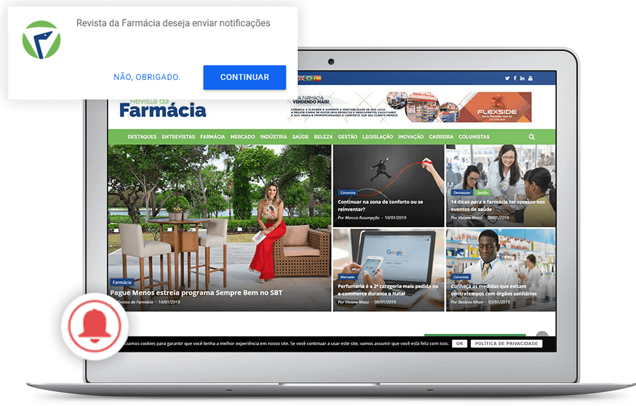 Tela mostrando o sistema de notificações do portal Revista da Farmácia