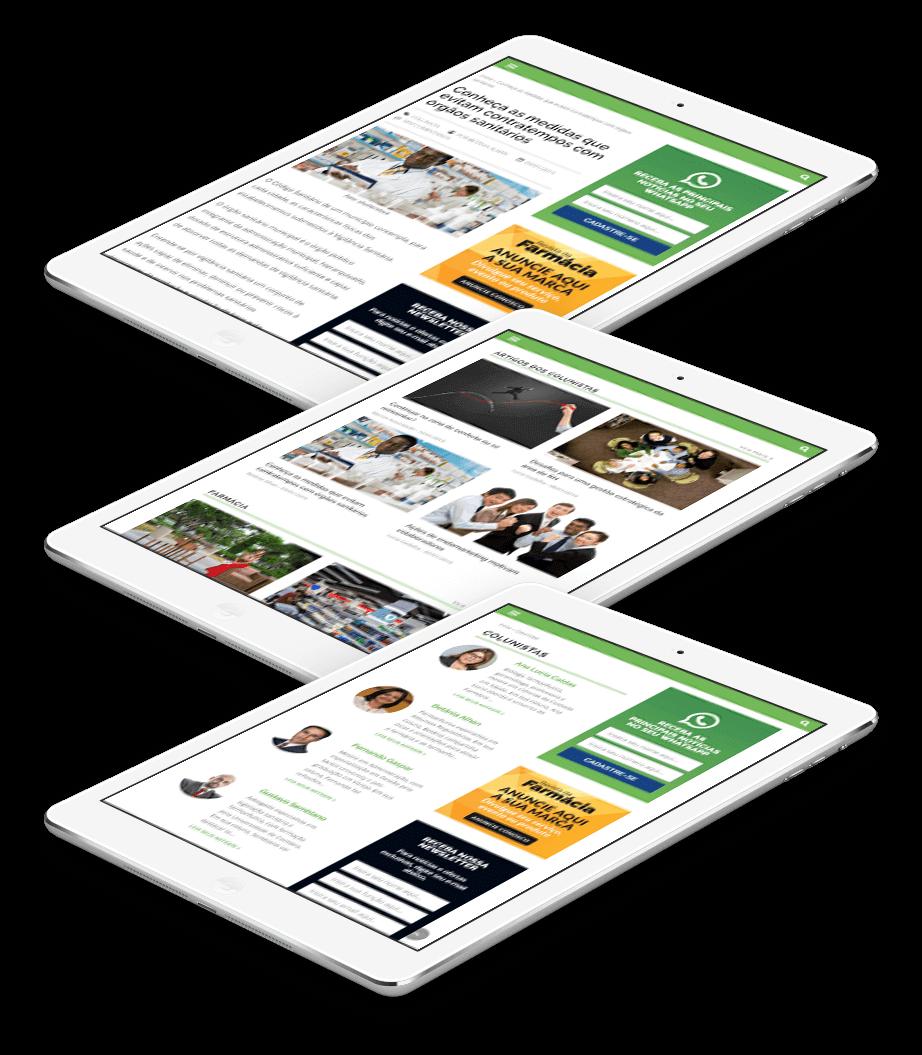 Tela mostrando o portal Revista da Farmácia