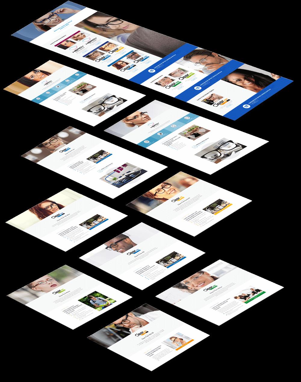 telas mostrando o processo de redesign do site Clear Optical
