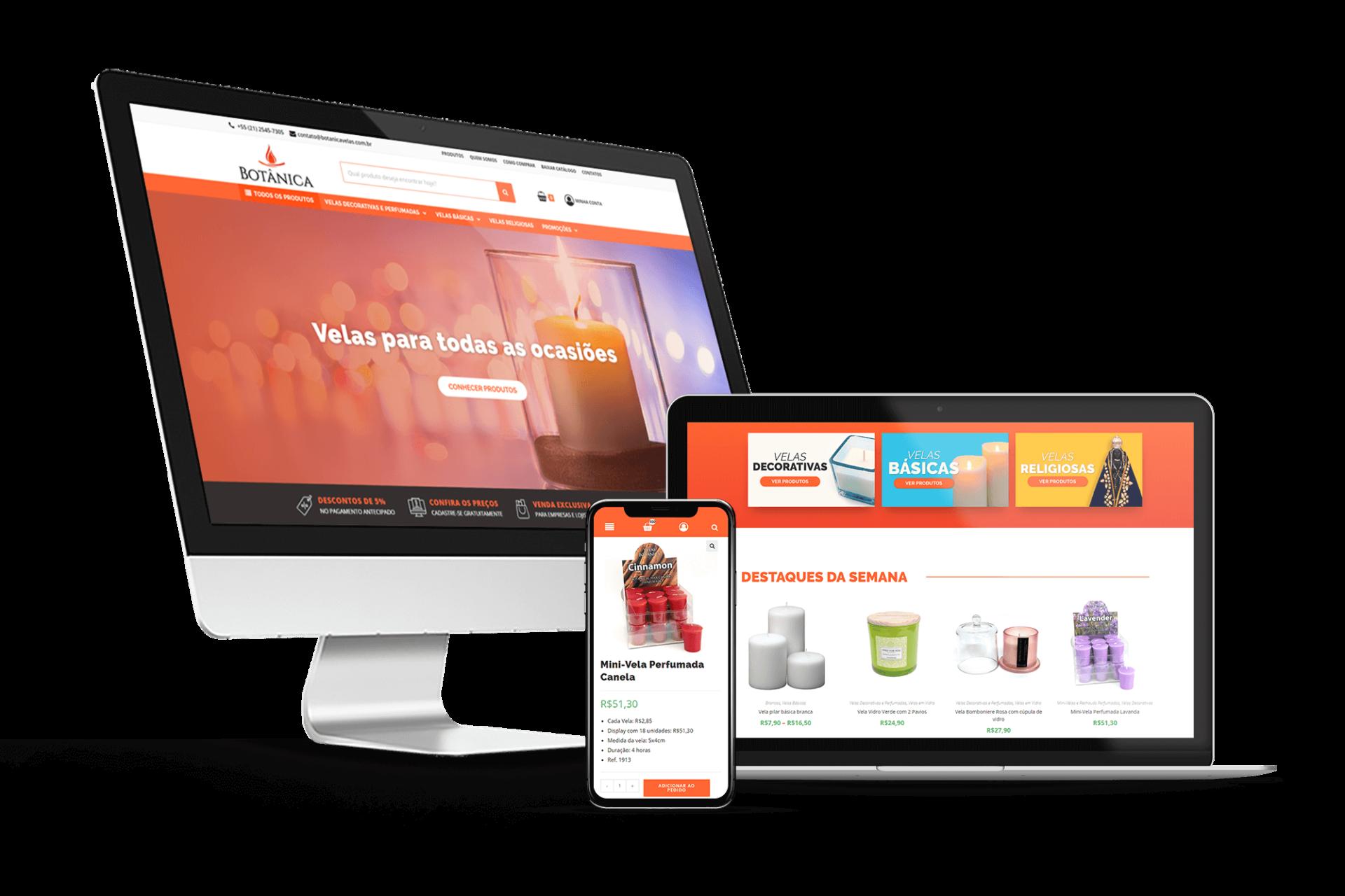 Criação de site para pedidos online para a Botânica Velas