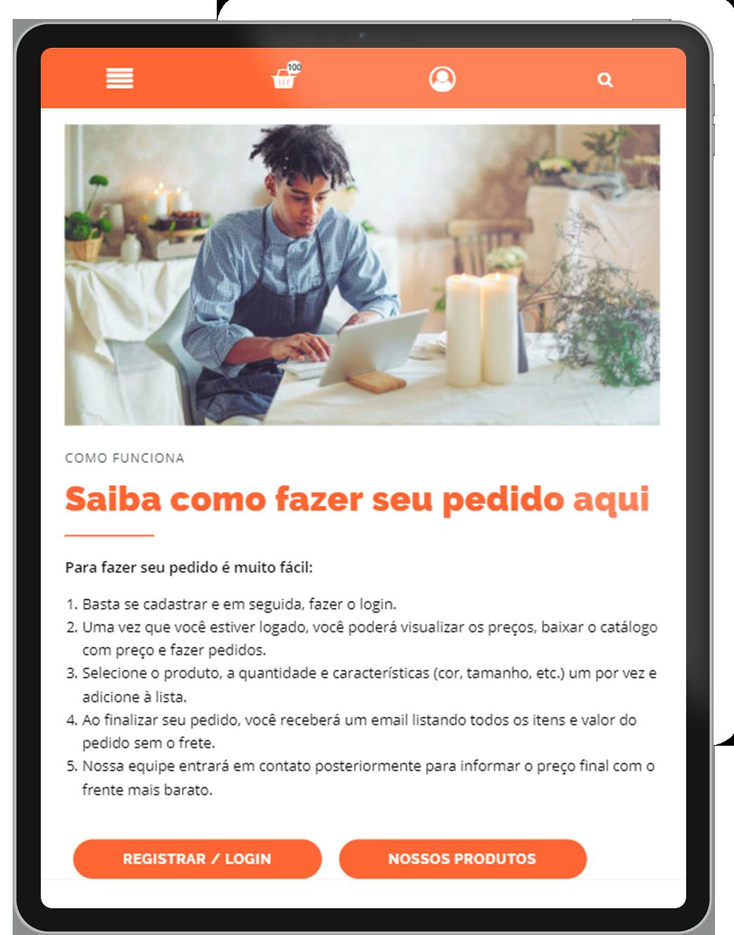 Criação de site para pedidos online para dispositivos móveis