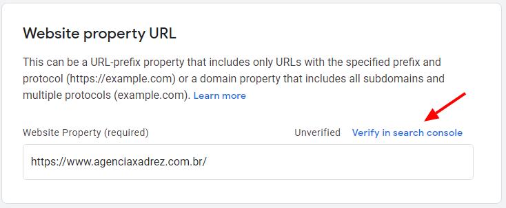 Verificação do domínio com Google Search Console no Publish Center.
