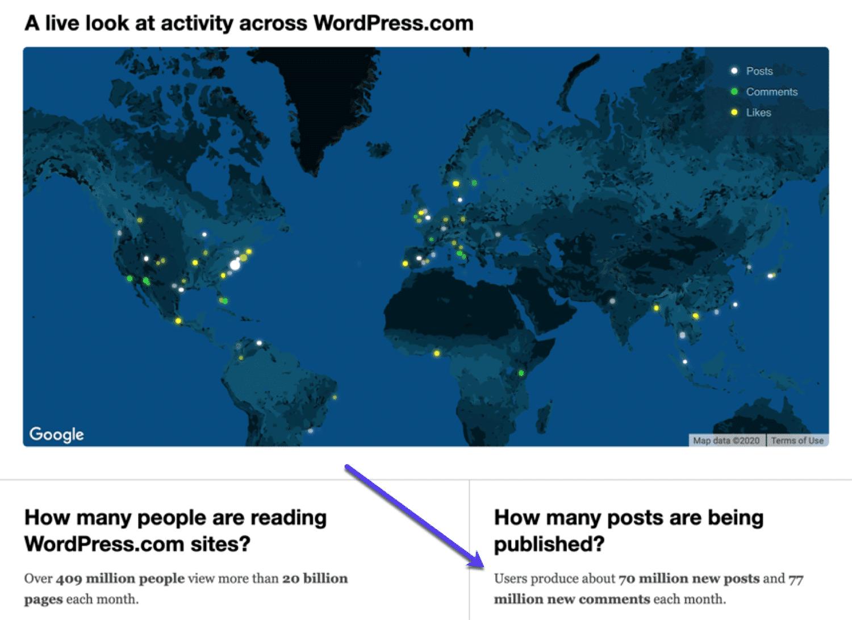 Mapa mostrando o uso do WordPress em todo o mundo