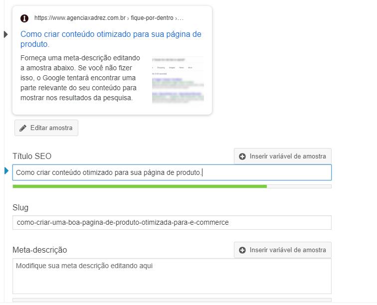 Edição de título e descrição para resultados de busca com plugin Yoast SEO.
