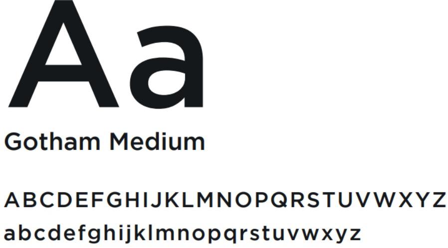 Tipografia para identidade visual Gotham Medium